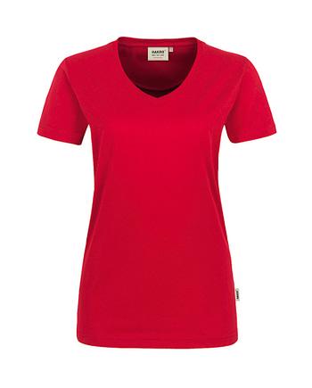 Arbeitskleidung T-Shirt Hakro Performance rot für Damen Frontansicht